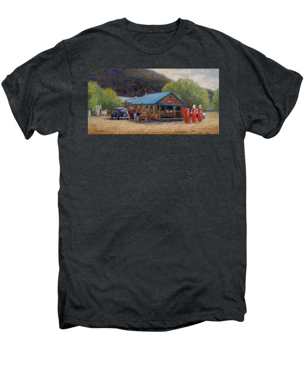 Realism Men's Premium T-Shirt featuring the painting Below Taos 2 by Donelli DiMaria