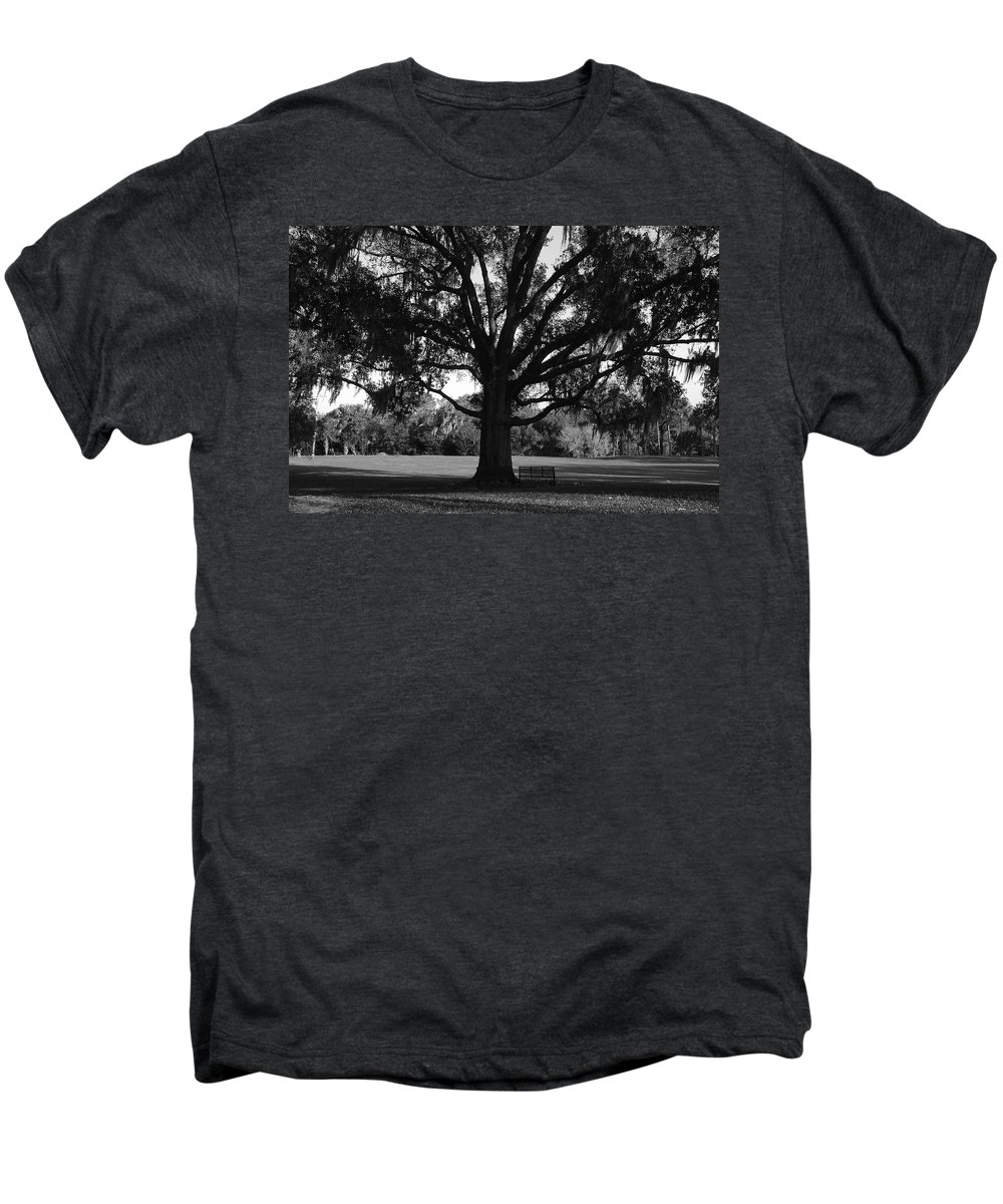 Park Bench Men's Premium T-Shirt featuring the photograph Bench Under Oak by David Lee Thompson
