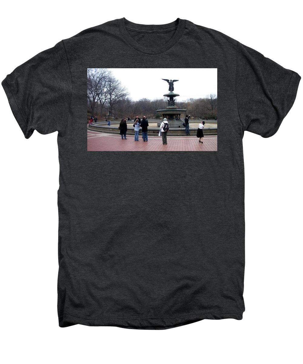 Bethesda Fountain Men's Premium T-Shirt featuring the photograph Bethesda Fountain by Anita Burgermeister