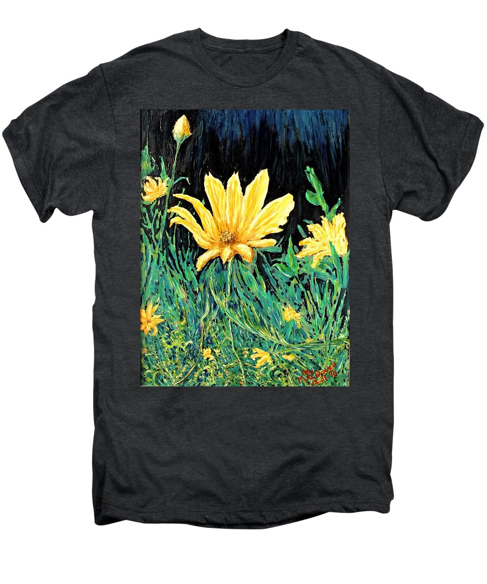 Flower Men's Premium T-Shirt featuring the painting Big Yellow by Ian MacDonald