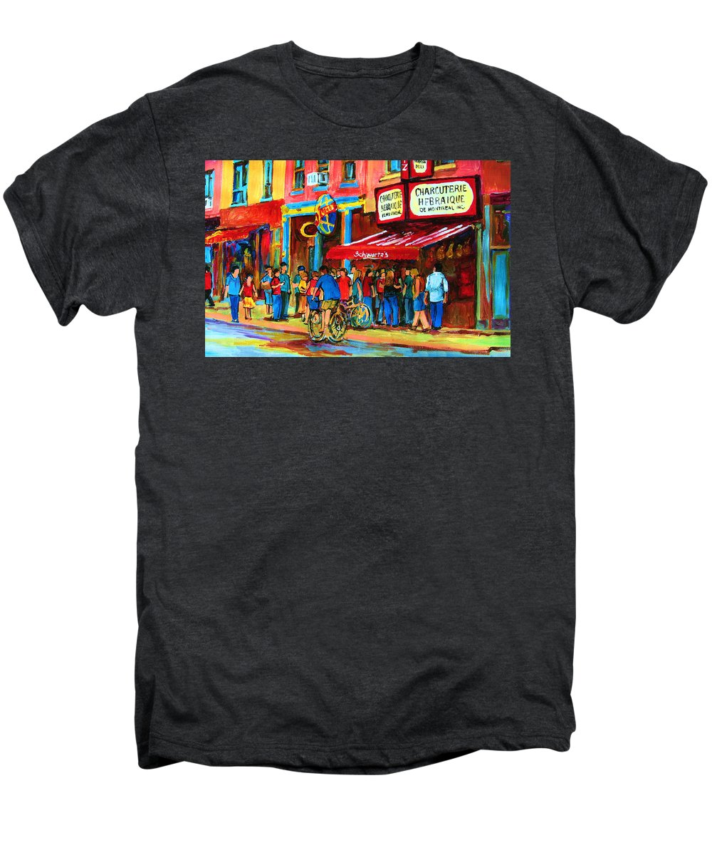 Schwartzs Smoked Meat Deli Men's Premium T-Shirt featuring the painting Biking Past The Deli by Carole Spandau