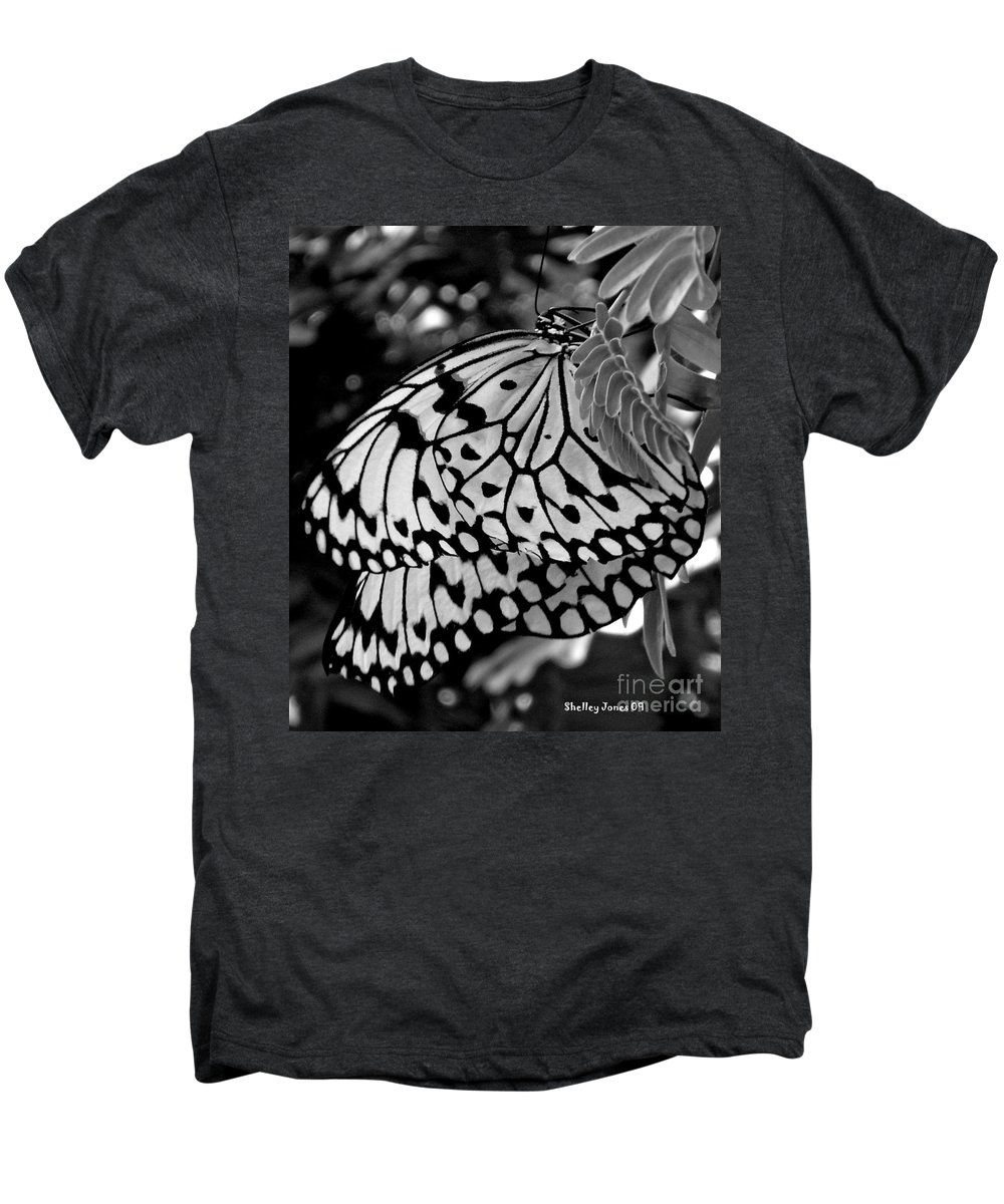 Photograph Men's Premium T-Shirt featuring the photograph Black And White Butterfly by Shelley Jones