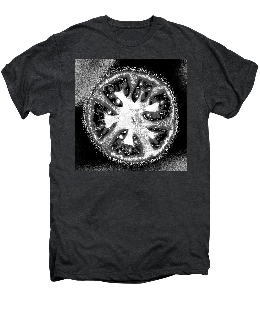 Tomato Men's Premium T-Shirt featuring the photograph Black And White Tomato by Nancy Mueller