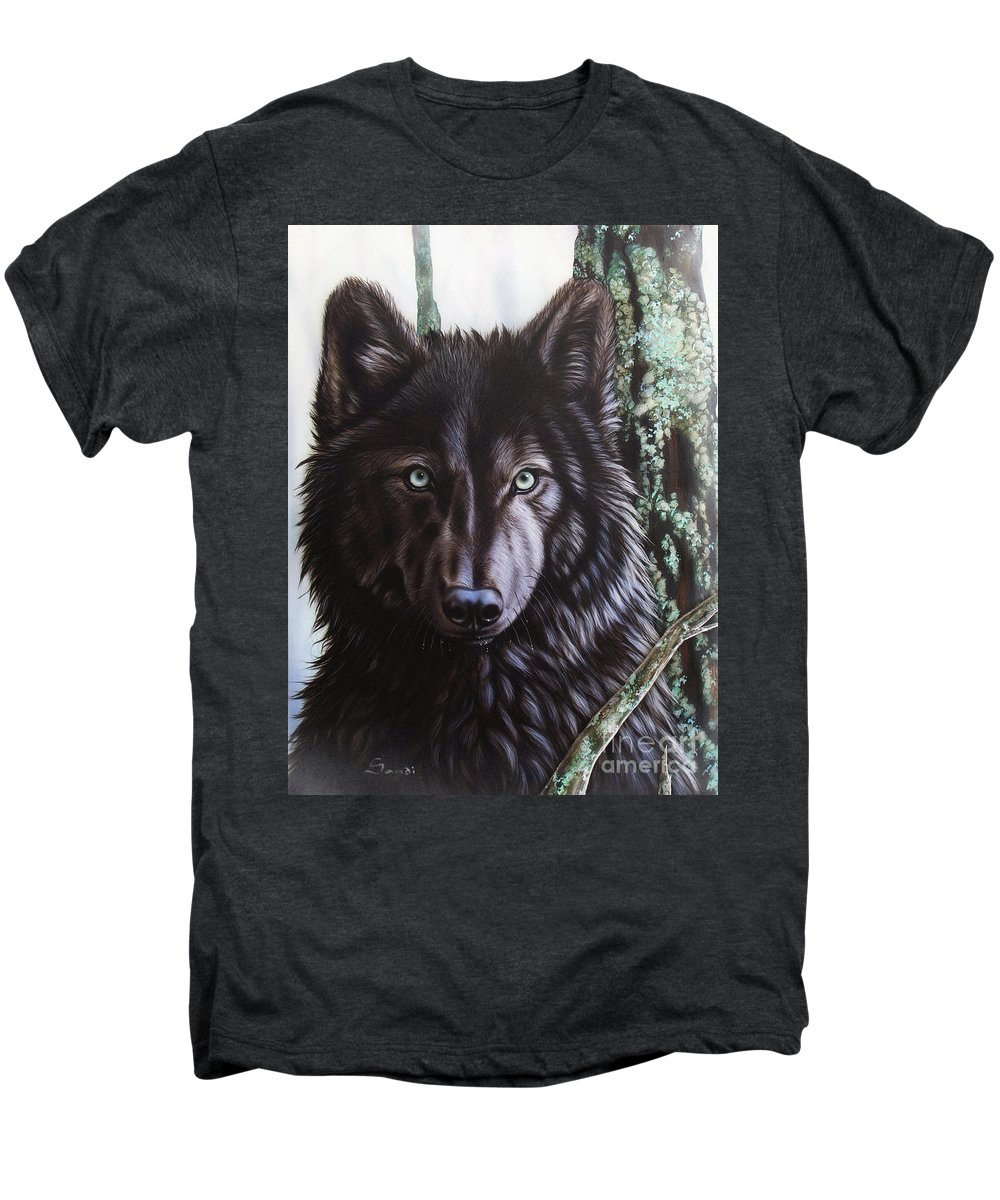 Wolves Men's Premium T-Shirt featuring the painting Black Wolf by Sandi Baker