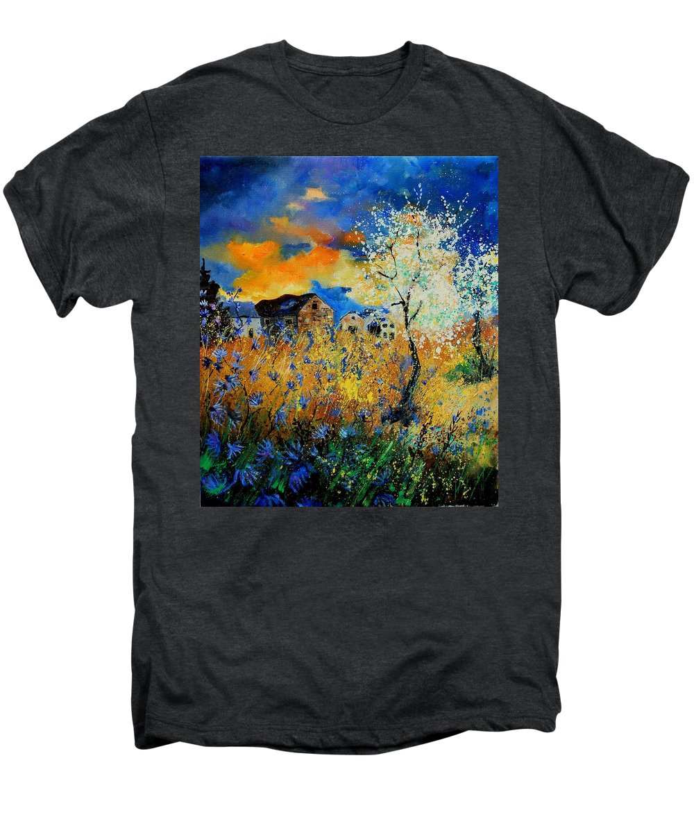Poppies Men's Premium T-Shirt featuring the painting Blooming Trees by Pol Ledent