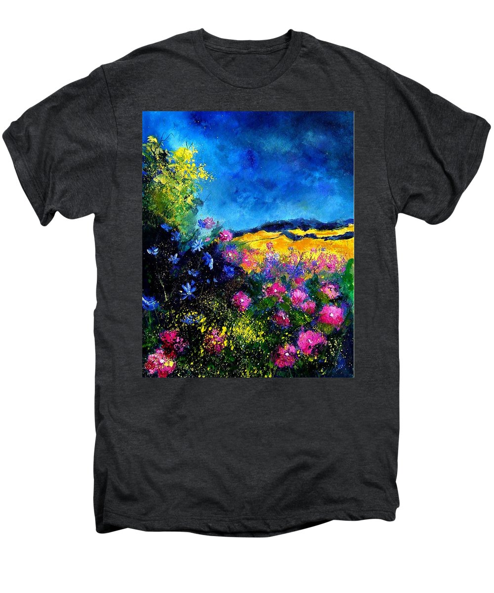 Landscape Men's Premium T-Shirt featuring the painting Blue And Pink Flowers by Pol Ledent