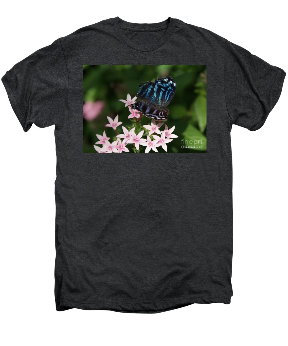 Butterfly Men's Premium T-Shirt featuring the photograph Blue And Pink Make Lilac by Shelley Jones