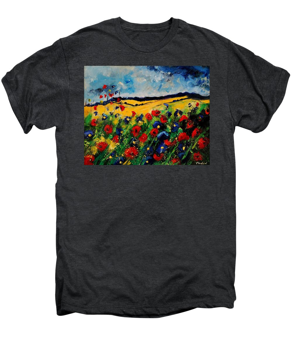 Poppies Men's Premium T-Shirt featuring the painting Blue And Red Poppies 45 by Pol Ledent
