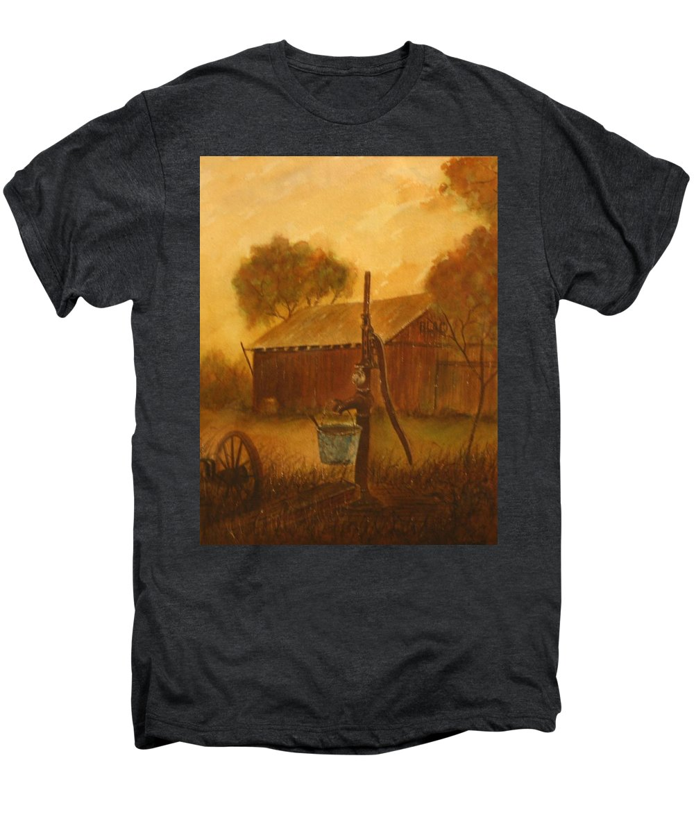 Barn; Bucket; Country Men's Premium T-Shirt featuring the painting Blue Bucket by Ben Kiger