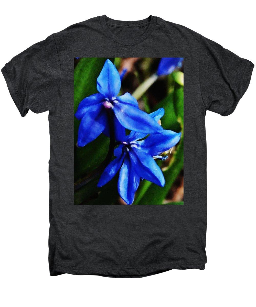 Digital Photo Men's Premium T-Shirt featuring the photograph Blue Floral by David Lane