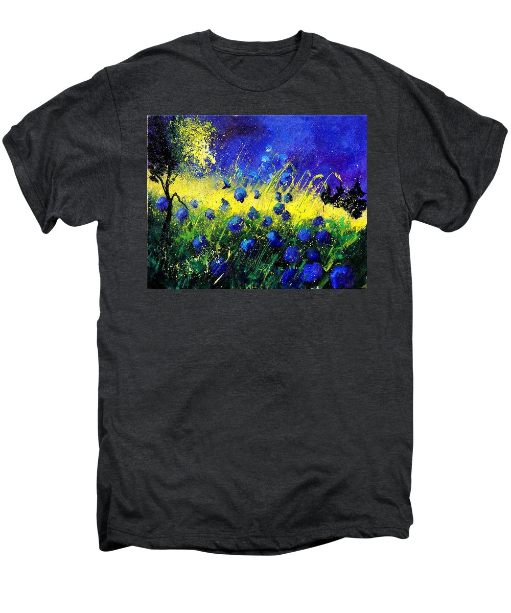 Flowers Men's Premium T-Shirt featuring the painting Blue Poppies by Pol Ledent