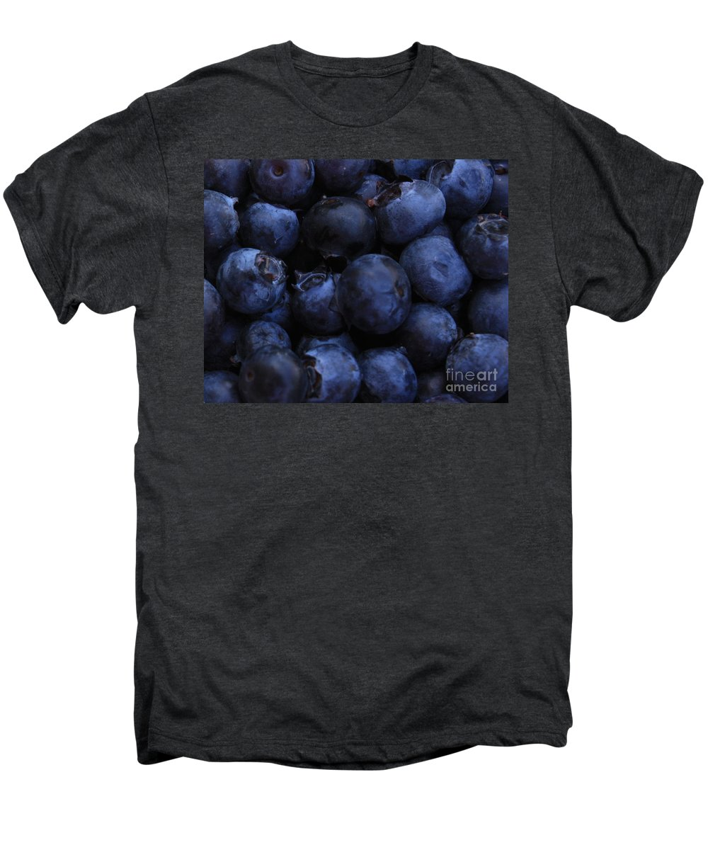 Blueberries Men's Premium T-Shirt featuring the photograph Blueberries Close-up - Horizontal by Carol Groenen
