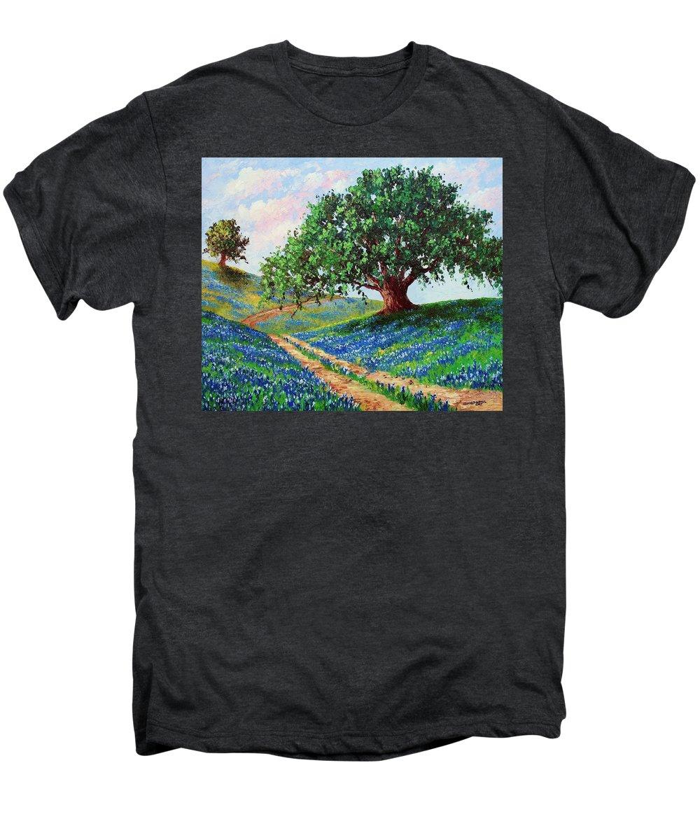 Bluebonnet Men's Premium T-Shirt featuring the painting Bluebonnet Road by David G Paul