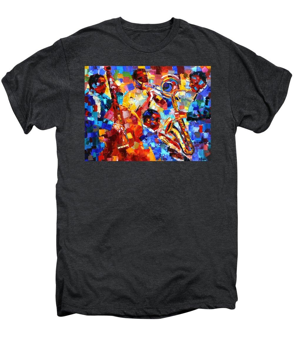 Jazz Men's Premium T-Shirt featuring the painting Bold Jazz Quartet by Debra Hurd