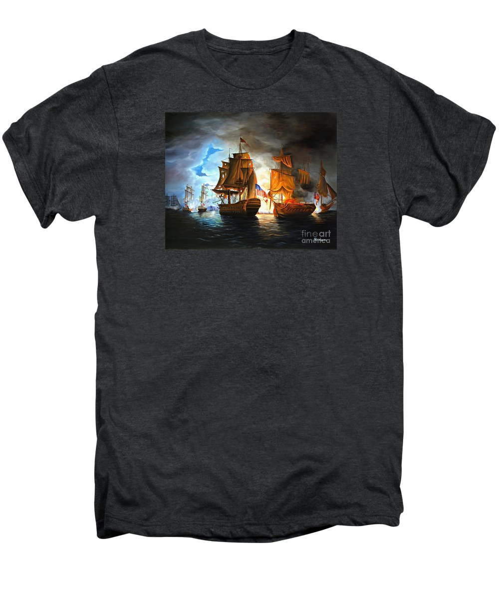 Naval Battle Men's Premium T-Shirt featuring the painting Bonhomme Richard Engaging The Serapis In Battle by Paul Walsh