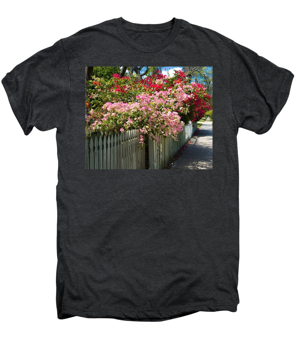 Nyctaginaceae; Bougainvillea; Flower; Flowers; Flowering; Bloom; Bloomimg; Blossom; Blossoming; Red; Men's Premium T-Shirt featuring the photograph Bougainvillea In Old Eau Gallie Florida by Allan Hughes