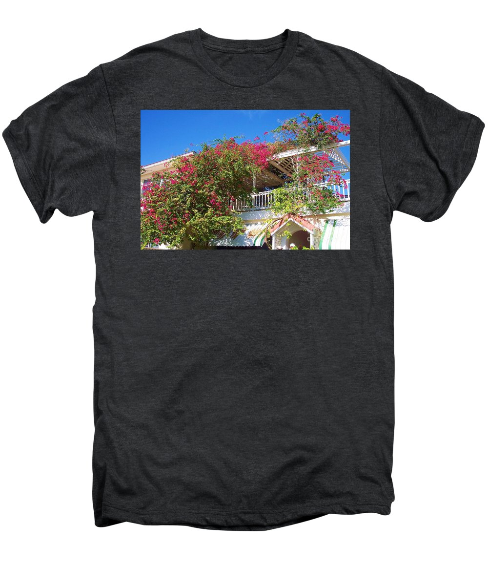 Flowers Men's Premium T-Shirt featuring the photograph Bougainvillea Villa by Debbi Granruth