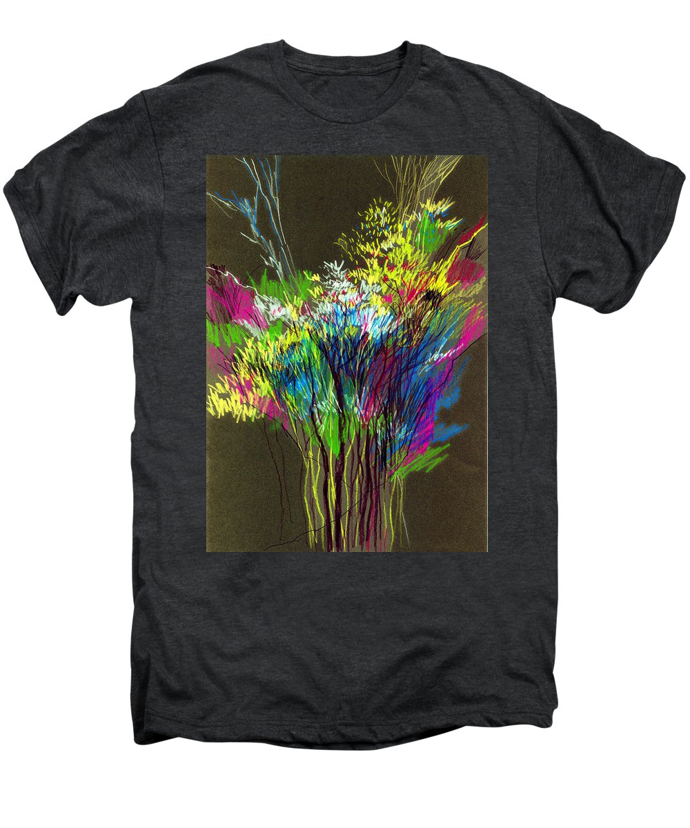 Flowers Men's Premium T-Shirt featuring the painting Bouquet by Anil Nene