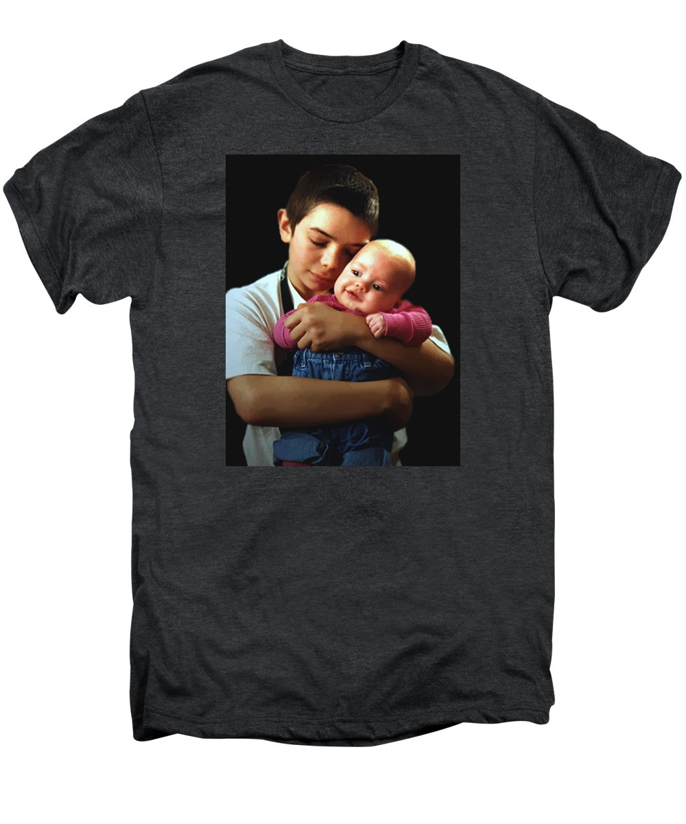 Children Men's Premium T-Shirt featuring the photograph Boy With Bald-headed Baby by RC deWinter