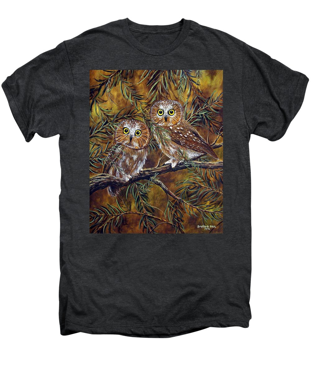 Owls Men's Premium T-Shirt featuring the painting Branch Buddies by David G Paul