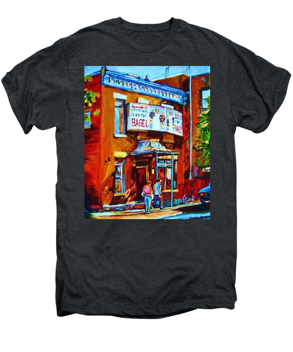 Fairmount Bagel Men's Premium T-Shirt featuring the painting Breakfast At The Bagel Cafe by Carole Spandau