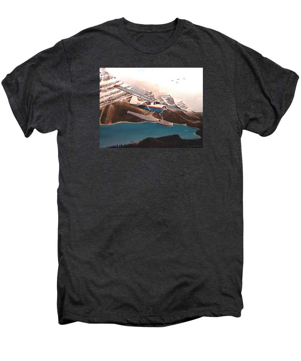 Aviation Men's Premium T-Shirt featuring the painting Bringing Home The Groceries by Marc Stewart