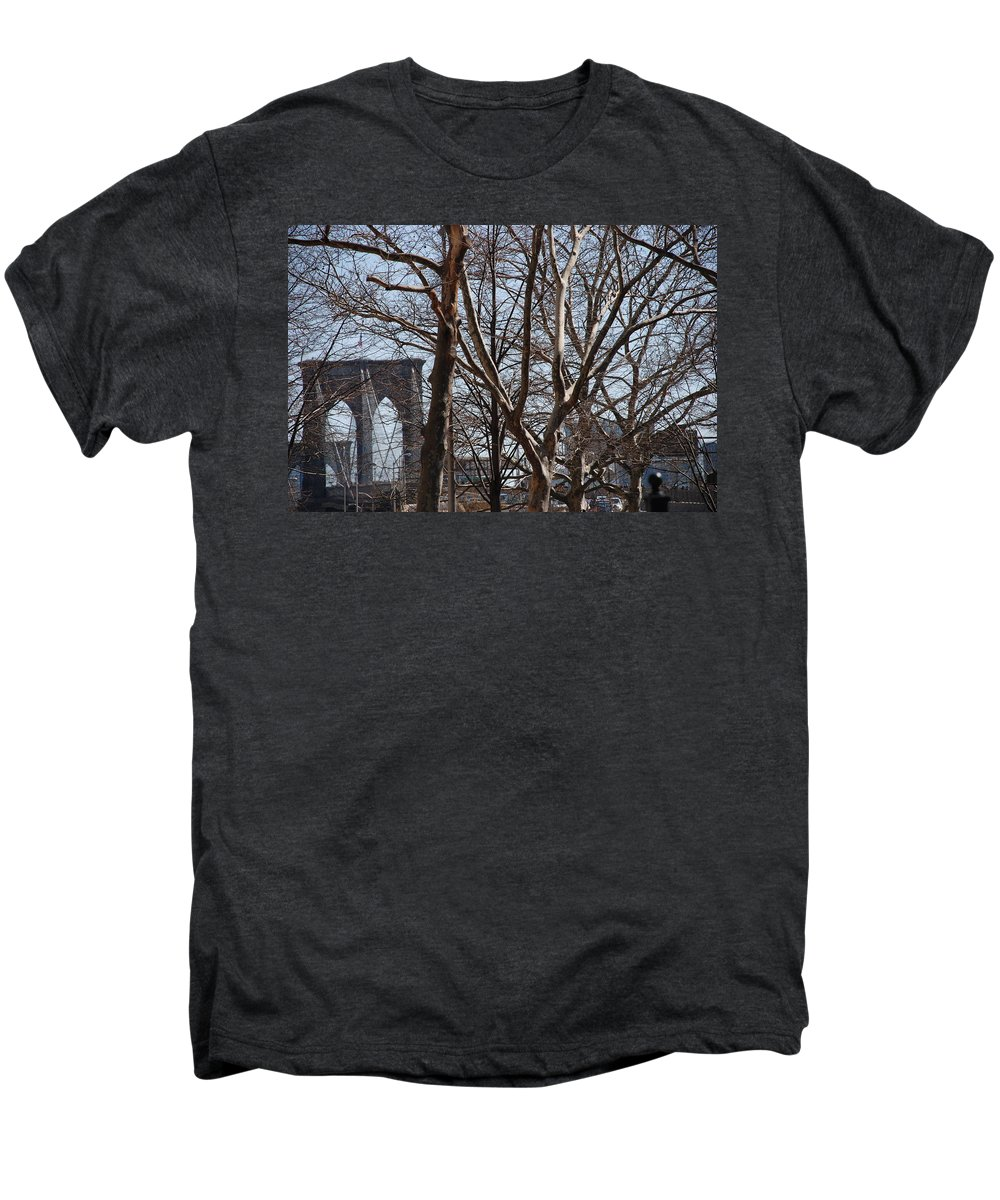 Architecture Men's Premium T-Shirt featuring the photograph Brooklyn Bridge Thru The Trees by Rob Hans