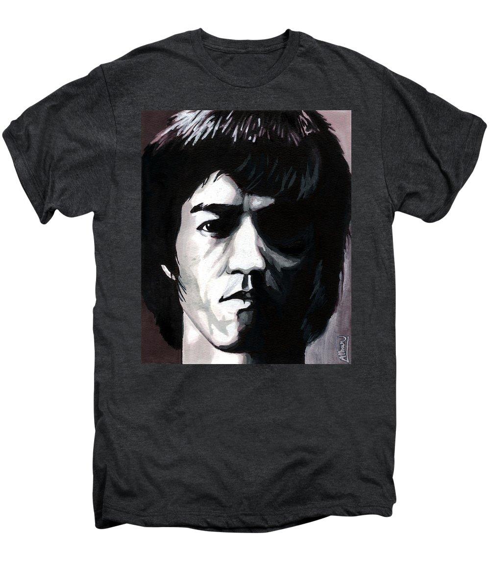 Bruce Lee Men's Premium T-Shirt featuring the mixed media Bruce Lee Portrait by Alban Dizdari