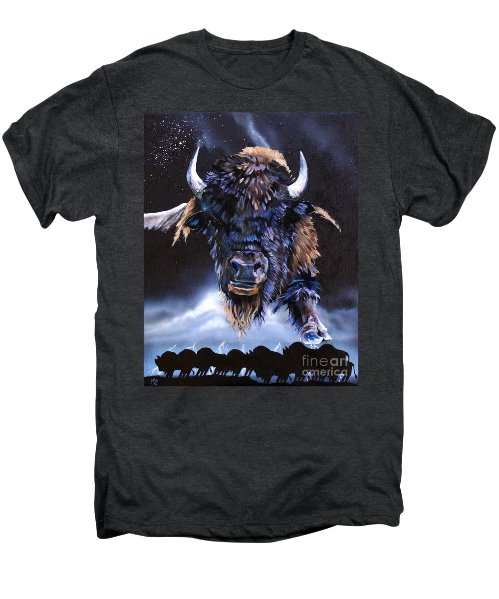 Buffalo Men's Premium T-Shirt featuring the painting Buffalo Medicine by J W Baker