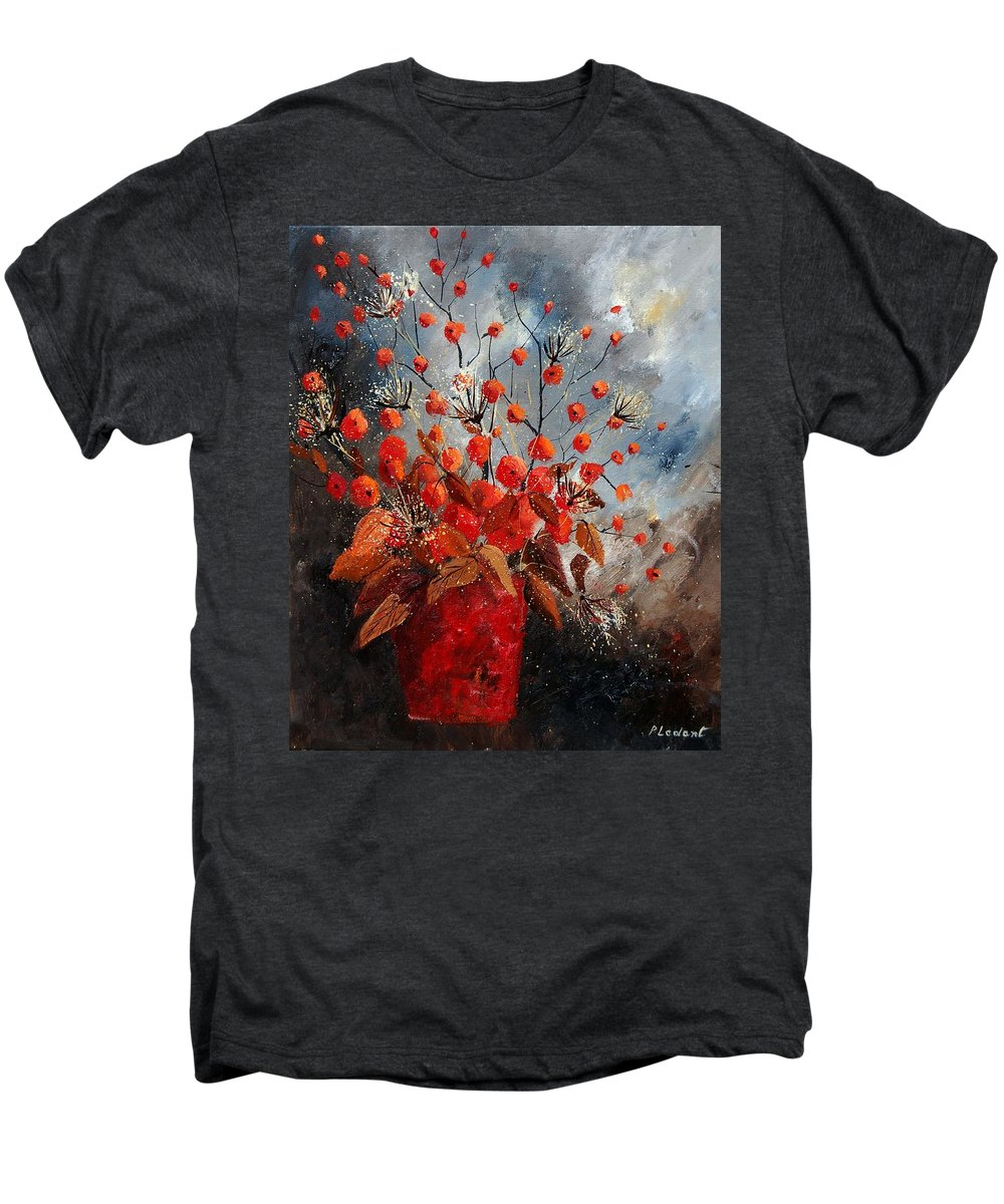 Flowers Men's Premium T-Shirt featuring the painting Bunch 560608 by Pol Ledent