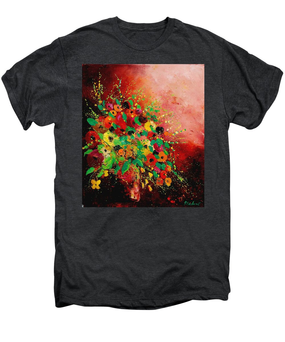 Flowers Men's Premium T-Shirt featuring the painting Bunch Of Flowers 0507 by Pol Ledent