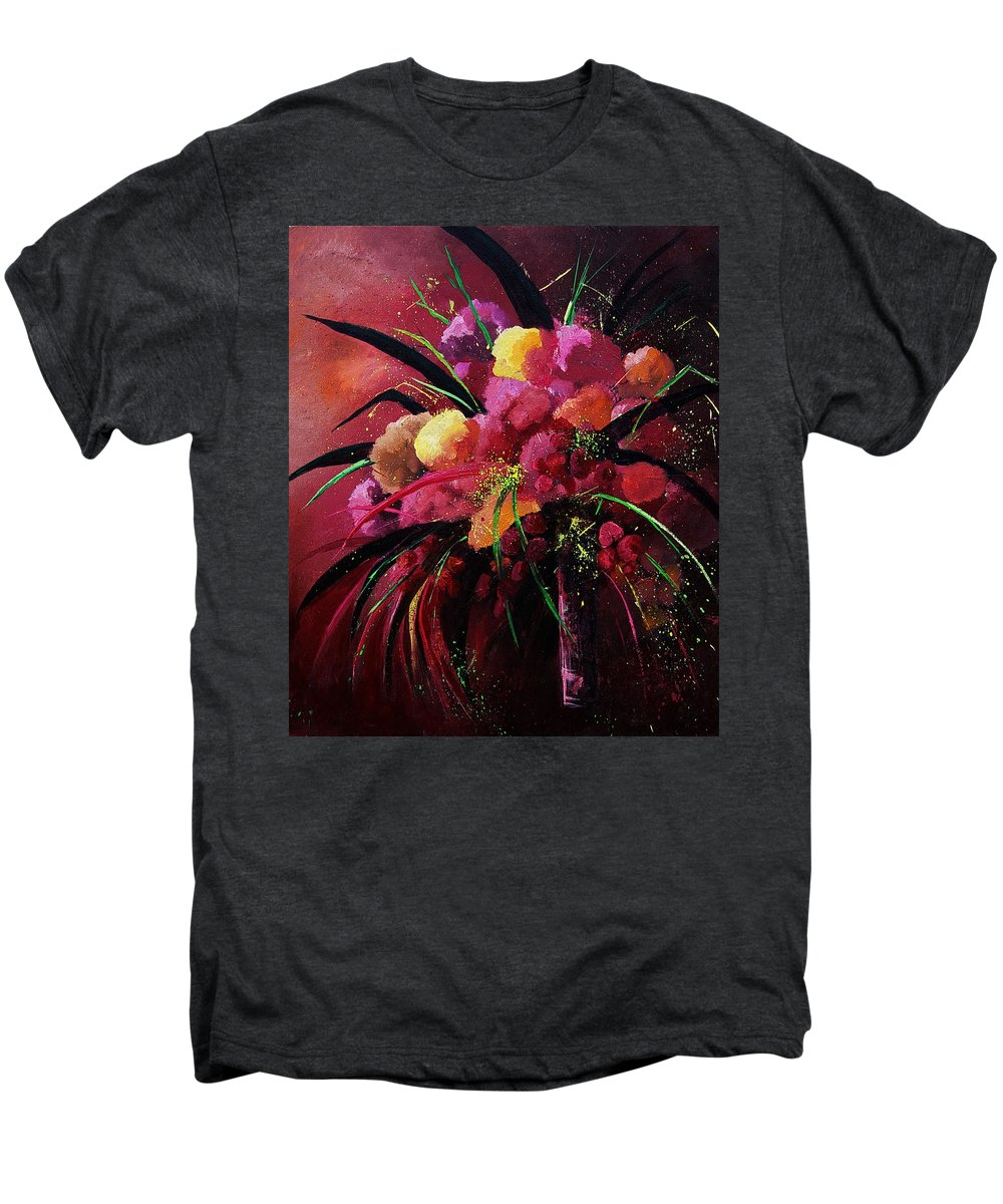Flowers Men's Premium T-Shirt featuring the painting Bunch Of Red Flowers by Pol Ledent