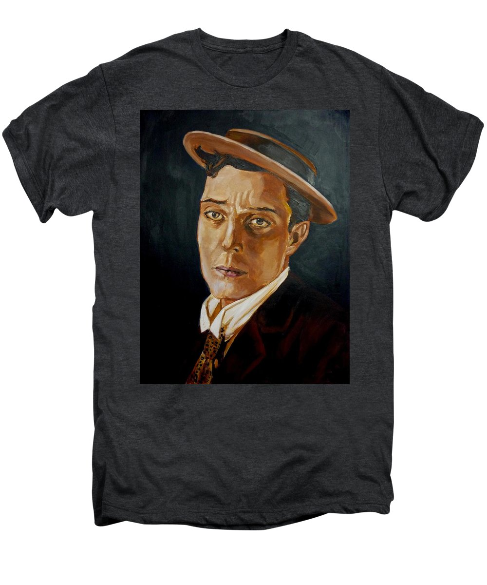 Comedy Men's Premium T-Shirt featuring the painting Buster Keaton Tribute by Bryan Bustard