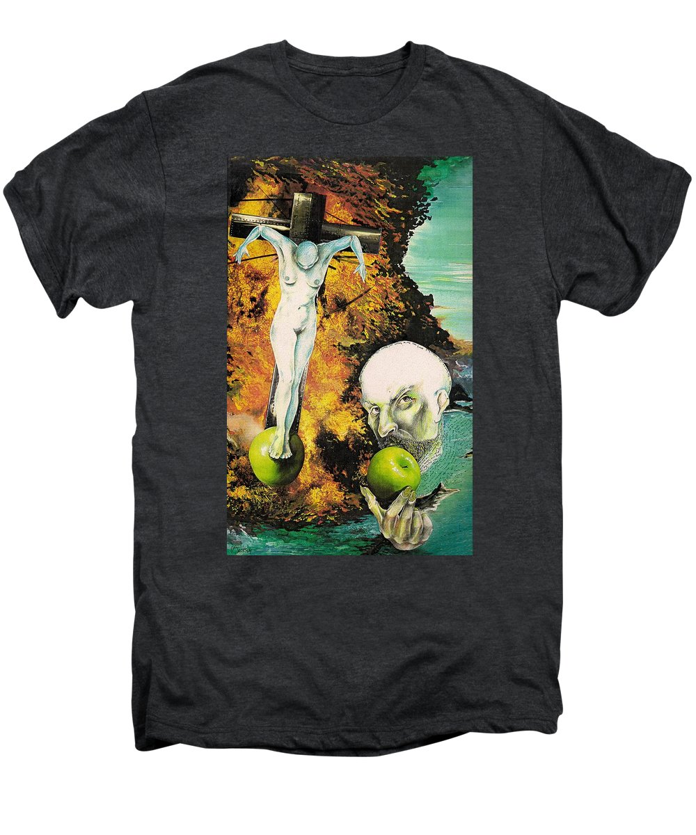 Lust Temptation Crucifix Hell Inferno Heaven Water Woman Sex Lust Apple Fire Men's Premium T-Shirt featuring the mixed media But For Lust... by Veronica Jackson