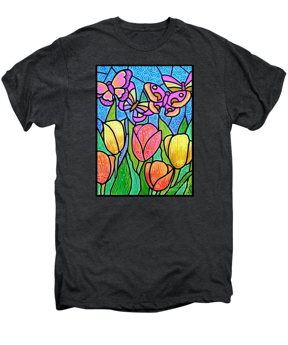 Butterflies Men's Premium T-Shirt featuring the painting Butterflies In The Tulip Garden by Jim Harris