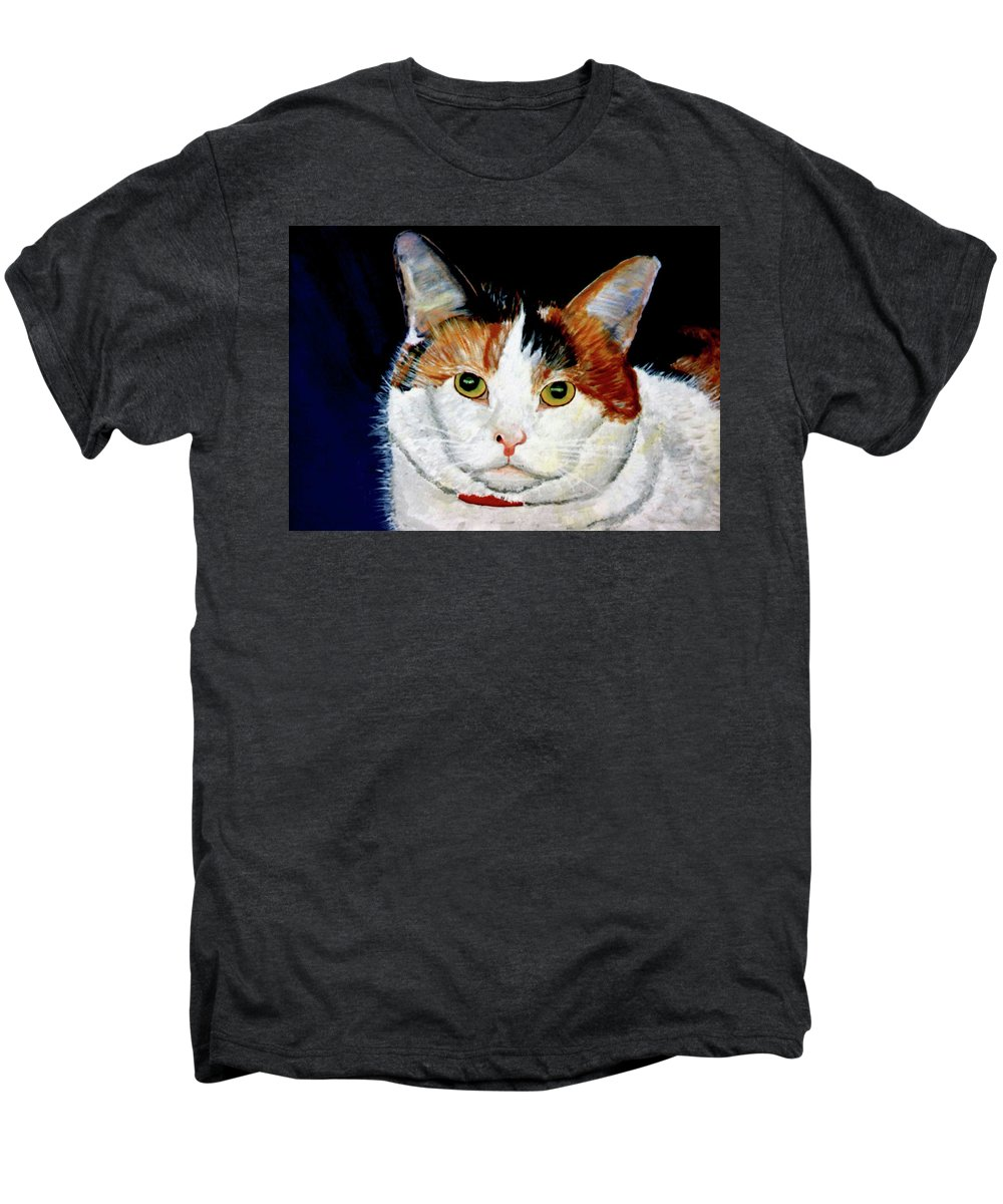 Cat Men's Premium T-Shirt featuring the painting Buttons by Stan Hamilton