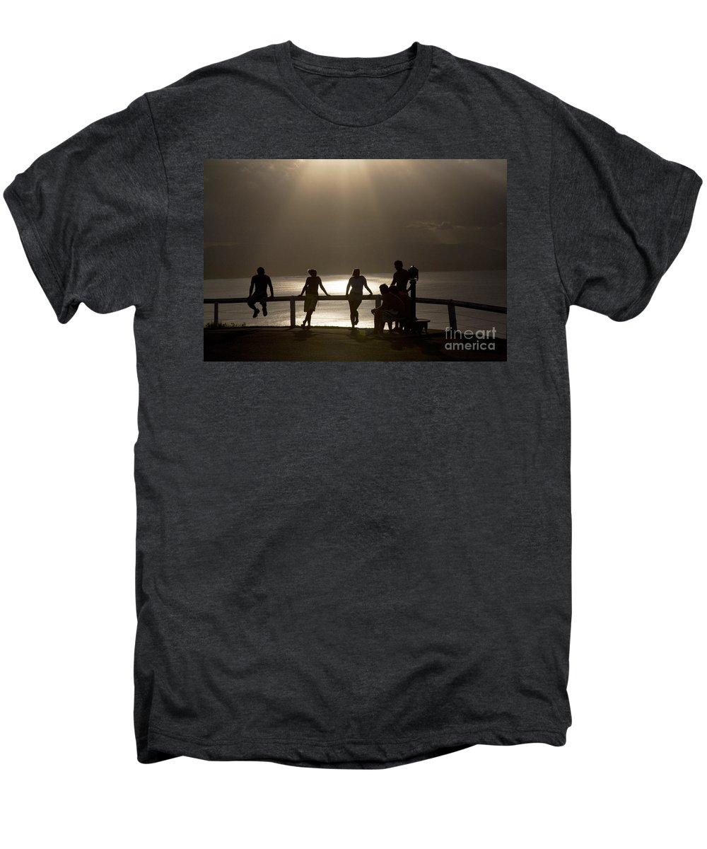 Byron Bay Lighthouse Silhouette Sunset Rays Men's Premium T-Shirt featuring the photograph Byron Bay Lighthouse by Sheila Smart Fine Art Photography