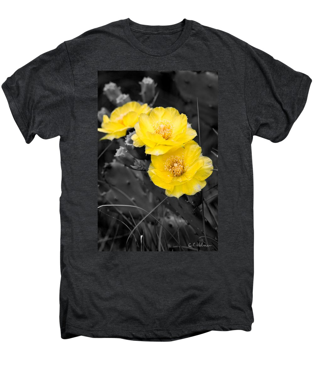 Cactus Men's Premium T-Shirt featuring the photograph Cactus Blossom by Christopher Holmes