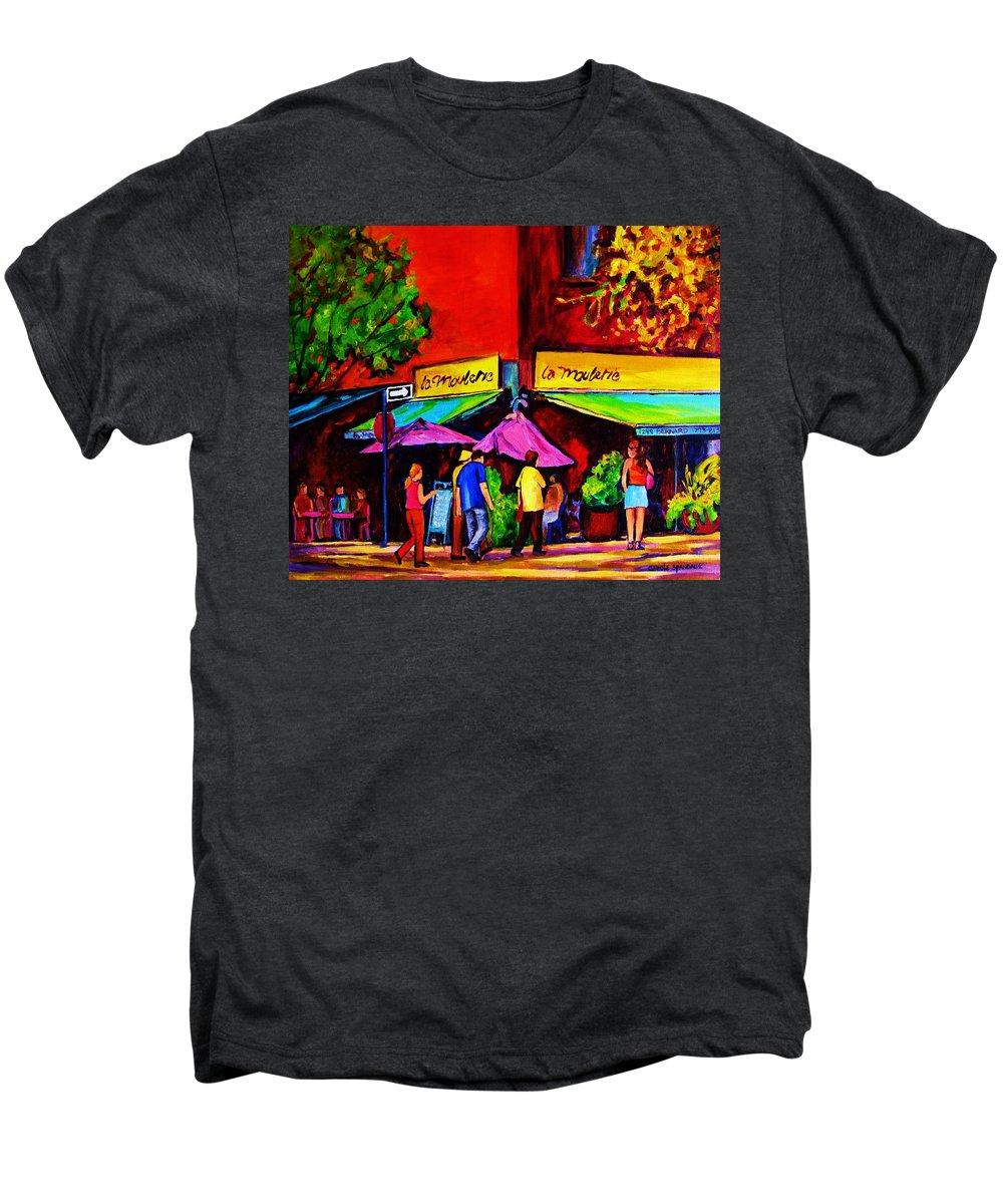 Cafe Scenes Men's Premium T-Shirt featuring the painting Cafe La Moulerie On Bernard by Carole Spandau