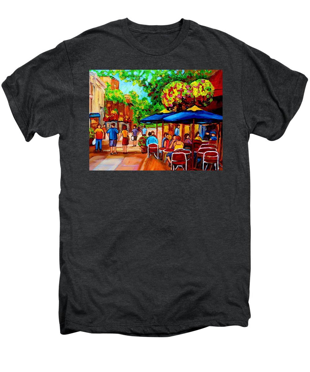 Cafe On Prince Arthur In Montreal Men's Premium T-Shirt featuring the painting Cafe On Prince Arthur In Montreal by Carole Spandau