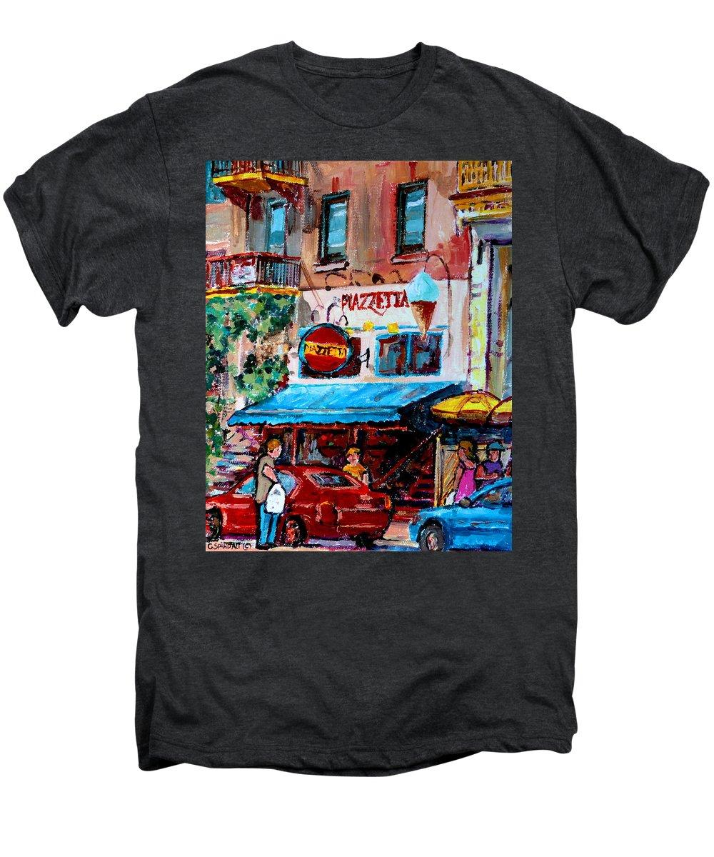 Cafes On St Denis Paris Cafes Men's Premium T-Shirt featuring the painting Cafe Piazzetta St Denis by Carole Spandau
