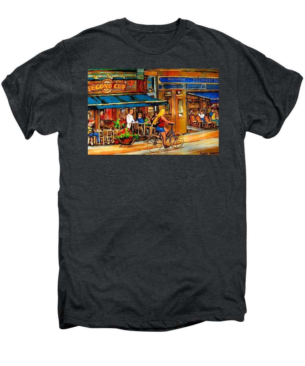 Cafes Men's Premium T-Shirt featuring the painting Cafes With Blue Awnings by Carole Spandau