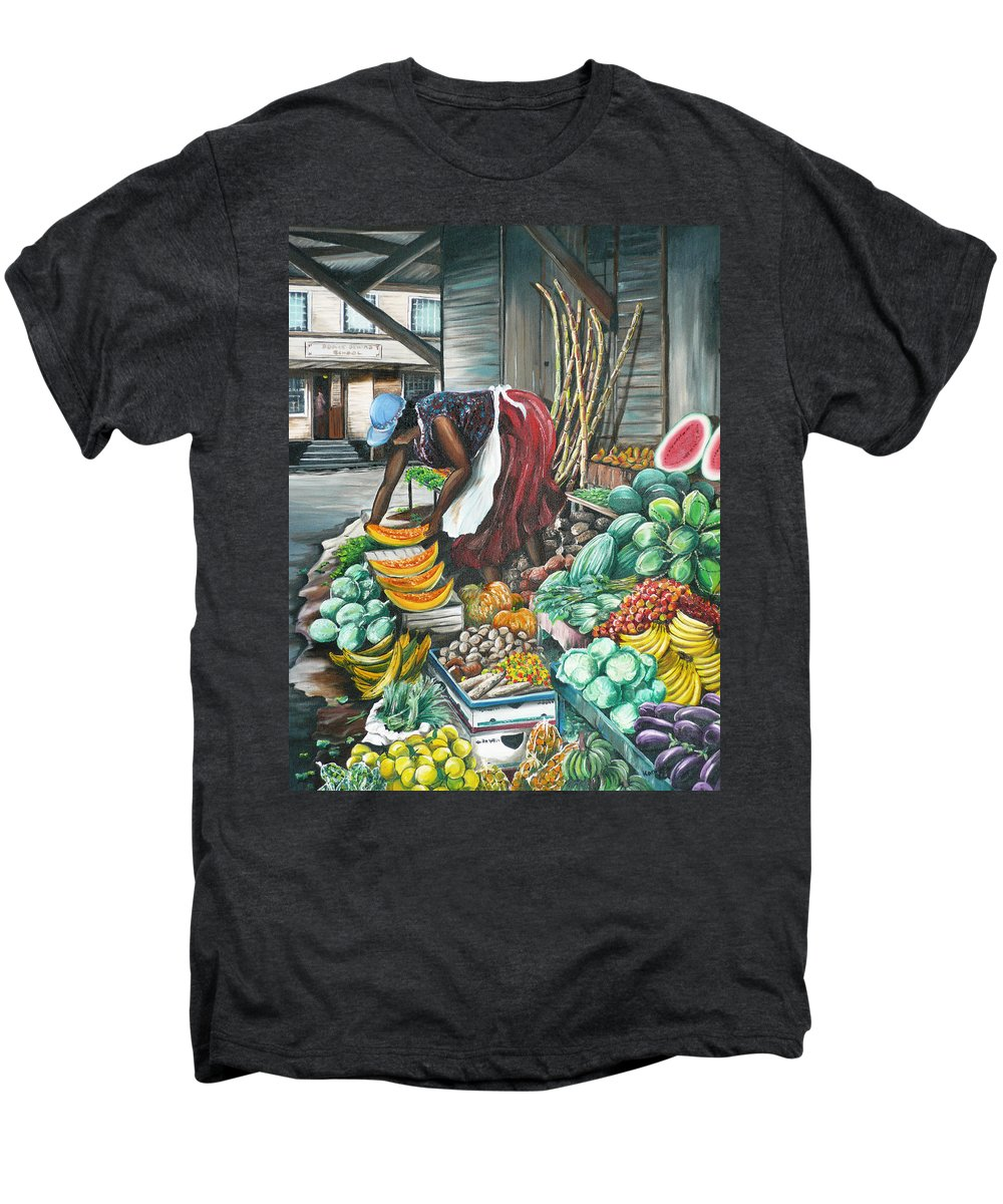 Caribbean Painting Market Vendor Painting Caribbean Market Painting Fruit Painting Vegetable Painting Woman Painting Tropical Painting City Scape Trinidad And Tobago Painting Typical Roadside Market Vendor In Trinidad Men's Premium T-Shirt featuring the painting Caribbean Market Day by Karin Dawn Kelshall- Best