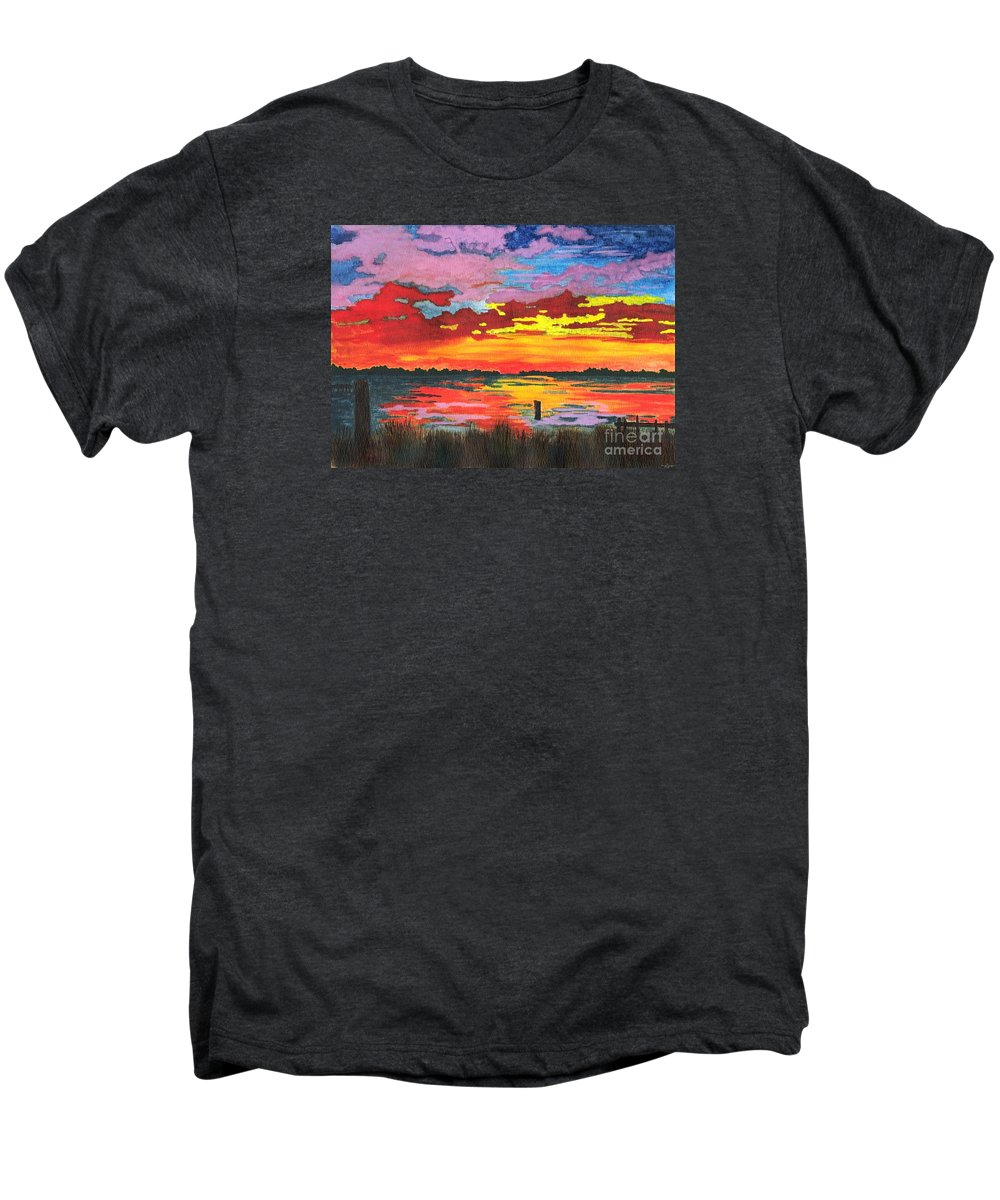 Original Painting Men's Premium T-Shirt featuring the painting Carolina Sunset by Patricia Griffin Brett