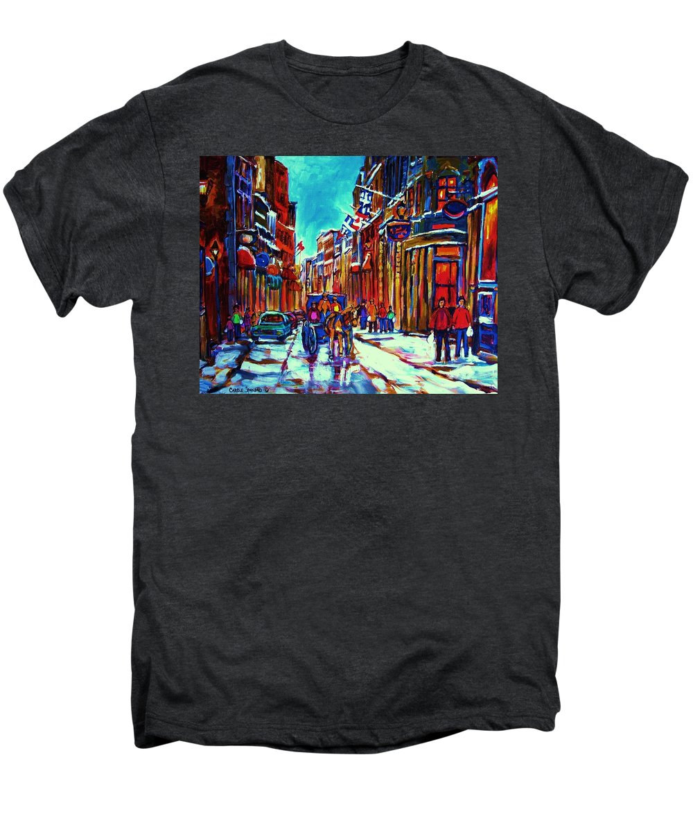 Old Montreal Men's Premium T-Shirt featuring the painting Carriage Ride Through The Old City by Carole Spandau