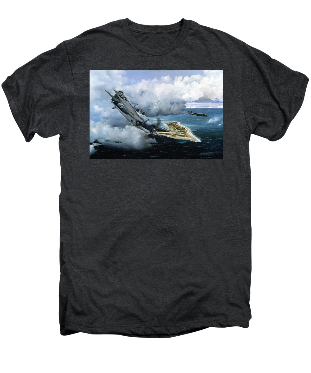 Military Men's Premium T-Shirt featuring the painting Cat And Mouse Over Wake by Marc Stewart