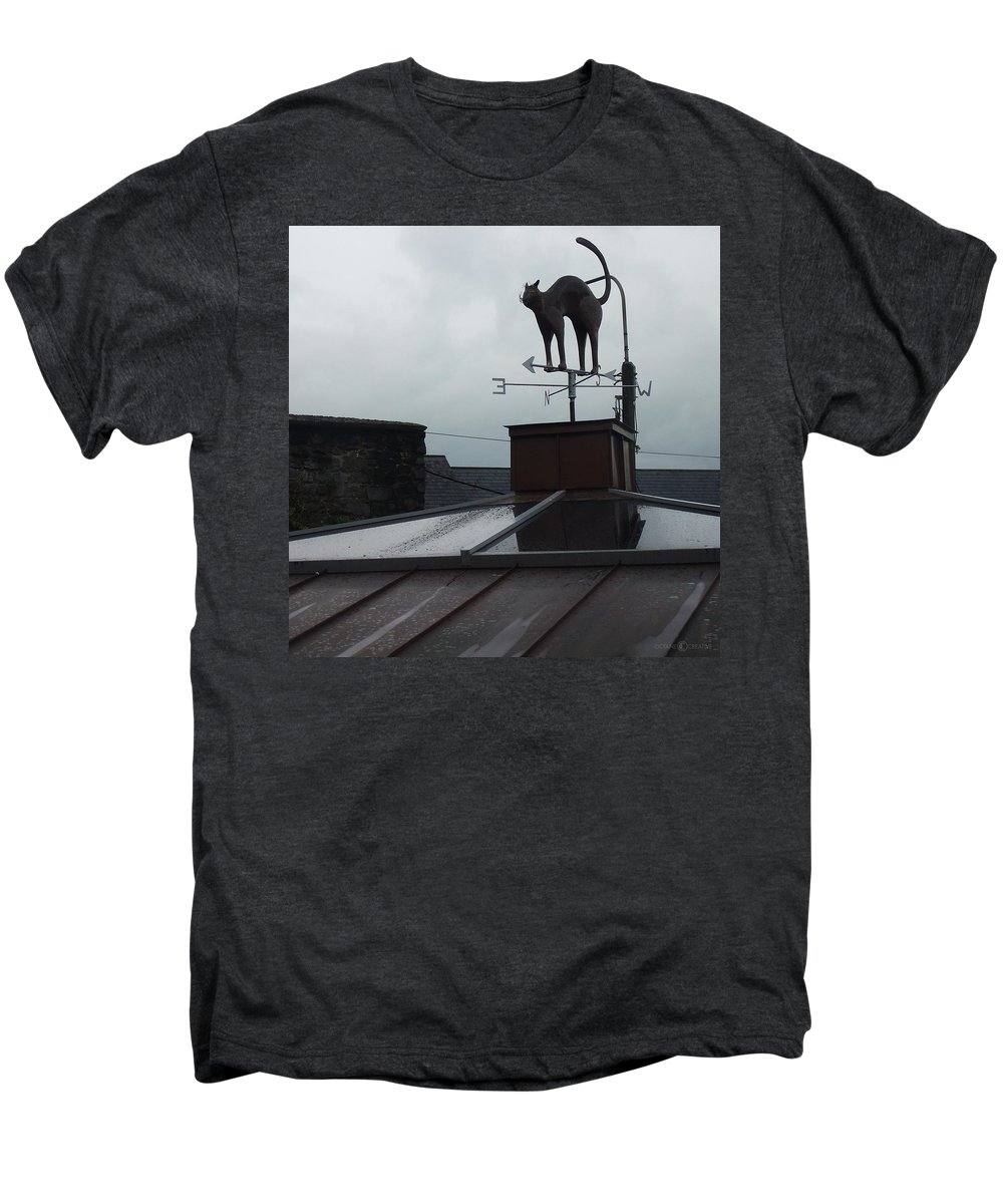Cat Men's Premium T-Shirt featuring the photograph Cat On A Cool Tin Roof by Tim Nyberg