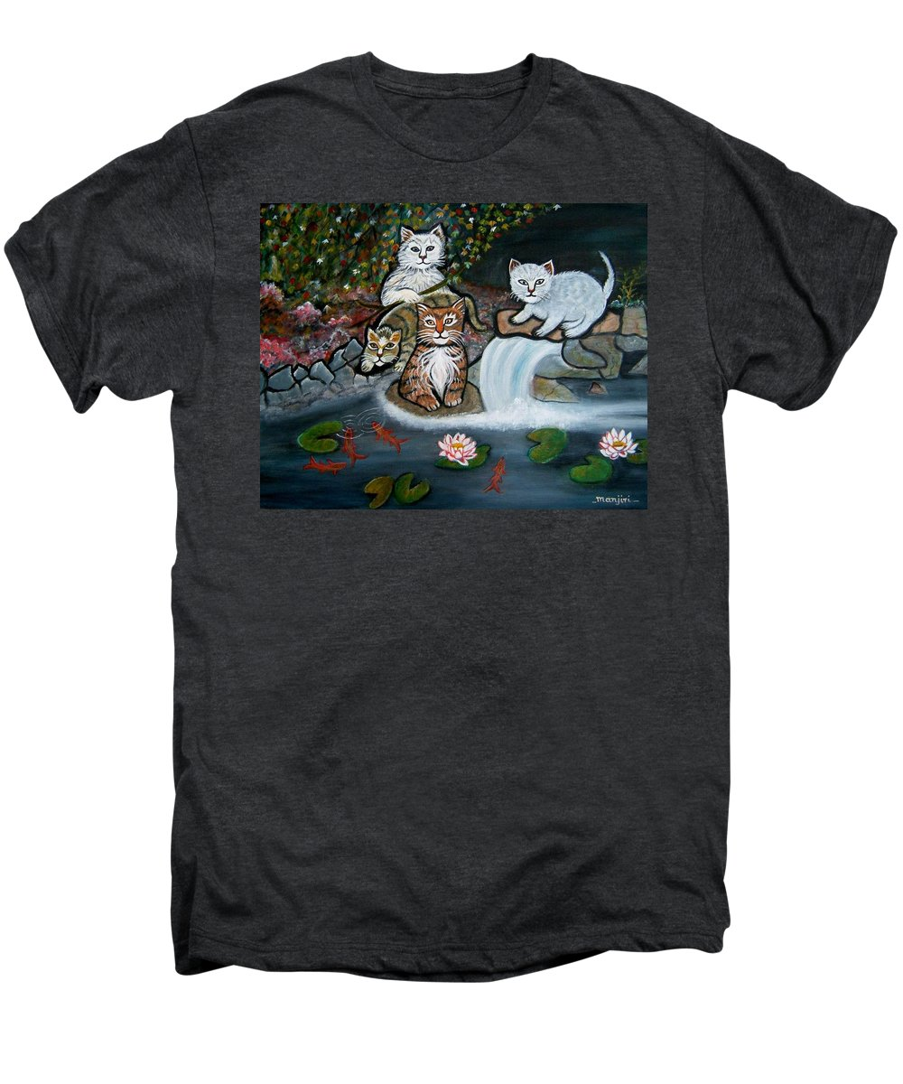 Acrylic Art Landscape Cats Animals Figurative Waterfall Fish Trees Men's Premium T-Shirt featuring the painting Cats In The Wild by Manjiri Kanvinde