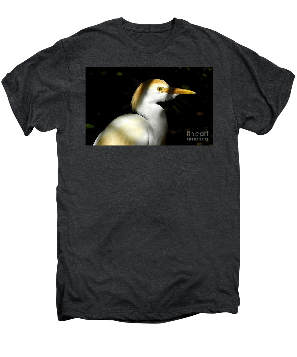 Cattle Egret Men's Premium T-Shirt featuring the photograph Cattle Egret In Shadow by David Lee Thompson