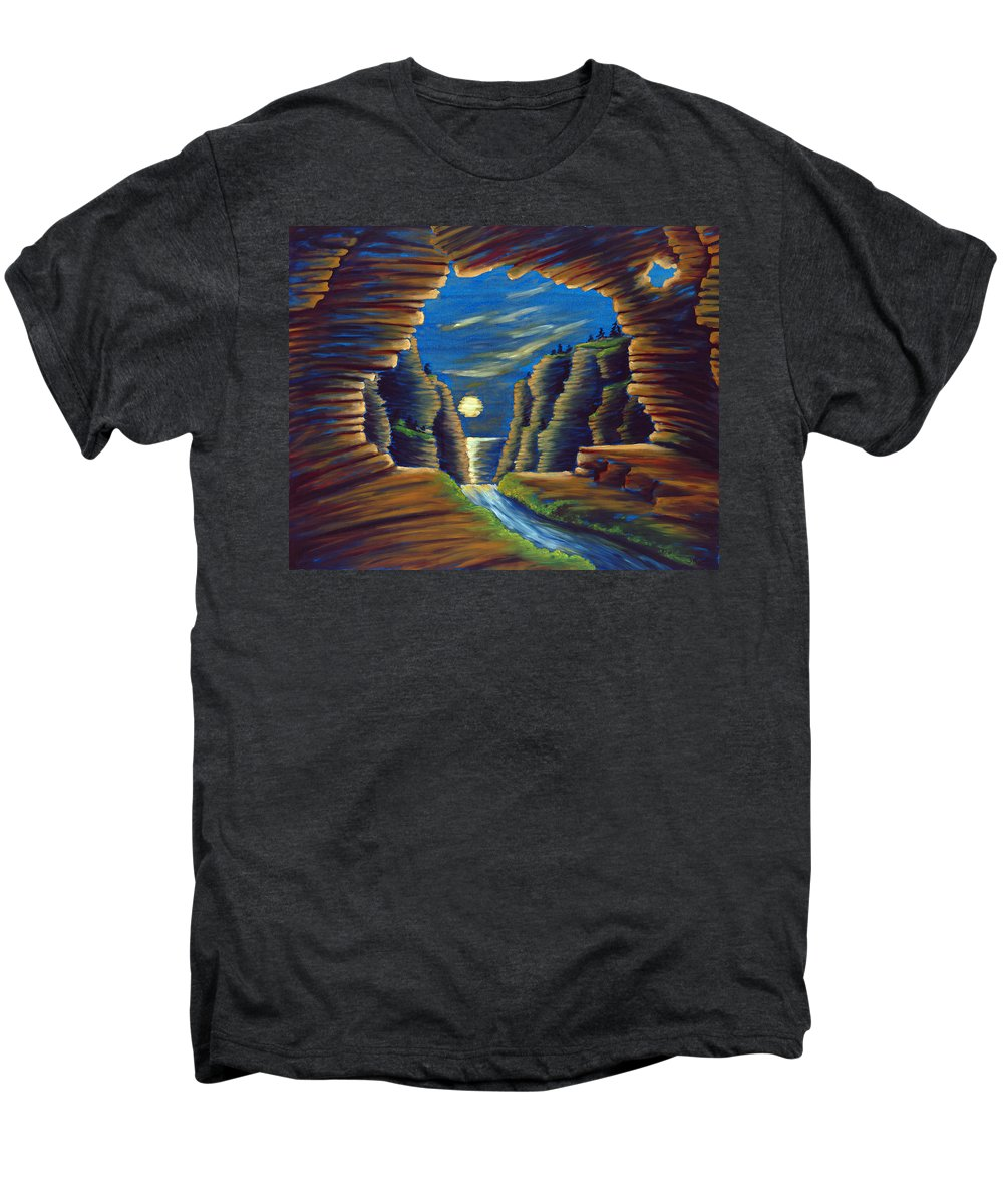 Cave Men's Premium T-Shirt featuring the painting Cave With Cliffs by Jennifer McDuffie